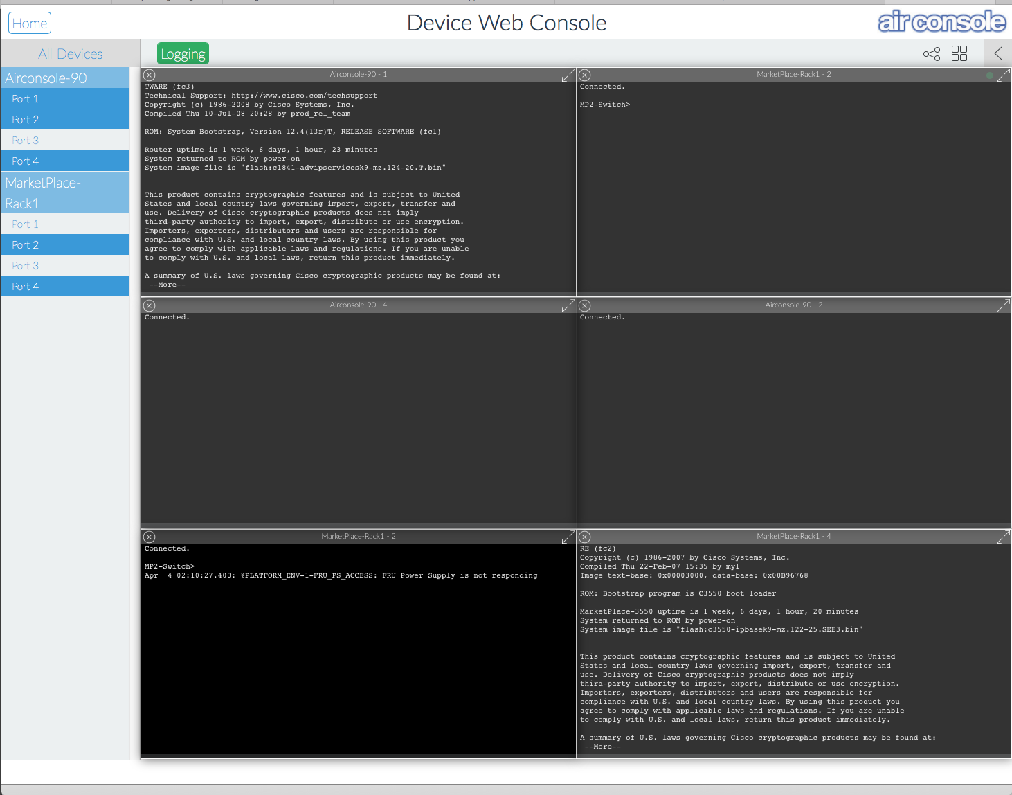 Airconsole Enterprise Server Web Terminal